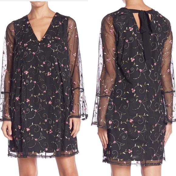 BCBGeneration Dresses & Skirts - NWT BCBGENERATION Black Floral Dress Bell Sleeves